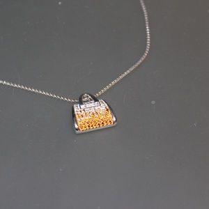 Brilliant Sterling Silver Purse Pendant Necklace